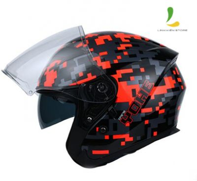 Mũ bảo hiểm 3/4 Yohe 878 Glossy Black Fluo Yellow/Fluo Red