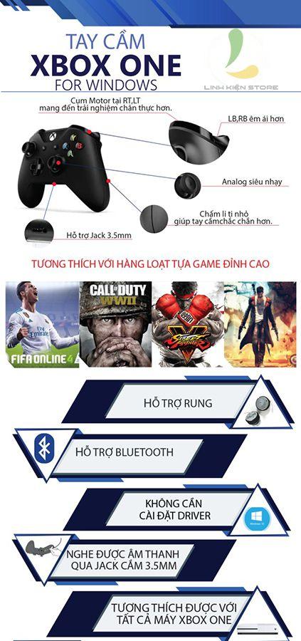 Tay cầm chơi game Xbox One S chính hãng + Wireless Adapter